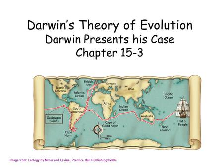 Darwin's Theory of Evolution Darwin Presents his Case Chapter 15-3 Image from: Biology by Miller <strong>and</strong> Levine; Prentice Hall Publishing©2006.