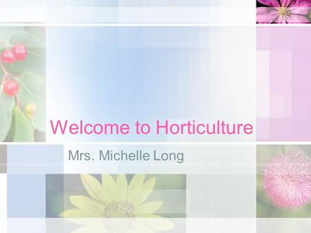 Welcome to Horticulture Mrs. Michelle Long. What is Horticulture?  olls/MTE5MTM1ODQxOA.