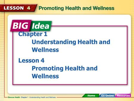 Chapter 1 Understanding Health and 	Wellness Lesson 4