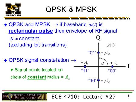ECE 4710: Lecture #27 1 QPSK & MPSK  QPSK and MPSK  if baseband m(t) is rectangular pulse then envelope of RF signal is  constant (excluding bit transitions)