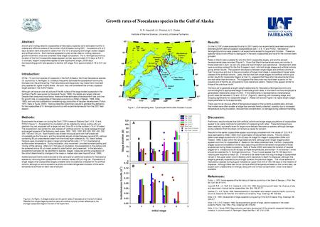 Growth rates of Neocalanus species in the Gulf of Alaska R. R. Hopcroft, A.I. Pinchuk, & C. Clarke Institute of Marine Science, University of Alaska Fairbanks.