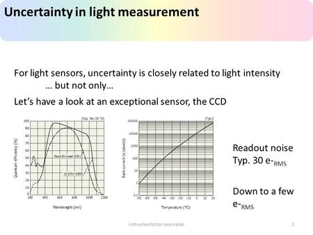 Uncertainty in light measurement instrumentation examples1 For light sensors, uncertainty is closely related to light intensity … but not only… Let's have.