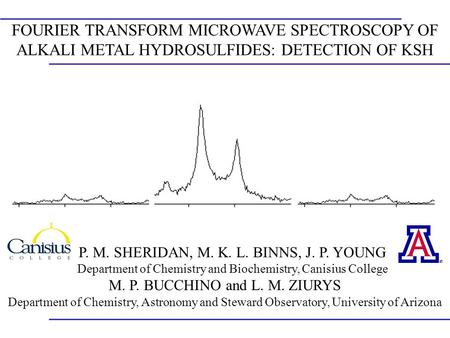 FOURIER TRANSFORM MICROWAVE SPECTROSCOPY OF ALKALI METAL HYDROSULFIDES: DETECTION OF KSH P. M. SHERIDAN, M. K. L. BINNS, J. P. YOUNG Department of Chemistry.