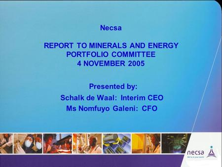 Necsa REPORT TO MINERALS AND ENERGY PORTFOLIO COMMITTEE 4 NOVEMBER 2005 Presented by: Schalk de Waal: Interim CEO Ms Nomfuyo Galeni: CFO.