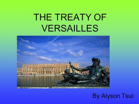 THE TREATY OF VERSAILLES By Alyson Tsui The Mood in 1919  Most countries felt Germany should pay for the damage and destruction caused by the War. 