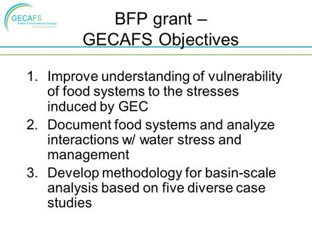 BFP grant – GECAFS Objectives 1.Improve understanding of vulnerability of food systems to the stresses induced by GEC 2.Document food systems and analyze.