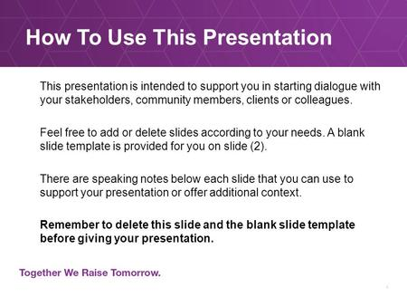 How To Use This Presentation This presentation is intended to support you in starting dialogue with your stakeholders, community members, clients or colleagues.