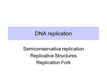 DNA replication Semiconservative replication Replicative Structures Replication Fork.