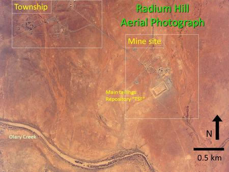 "Olary Creek Township Mine site Main tailings Repository ""TSF"" 0.5 km Radium Hill Aerial Photograph N."