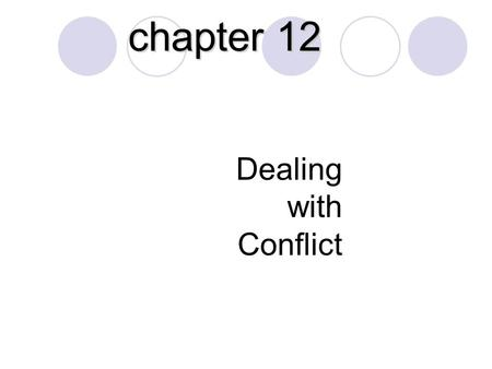 Dealing with Conflict chapter 12. Behaviors when dealing with a diversity of people: Passive Behavior Aggressive Behavior Passive-Aggressive Behavior.