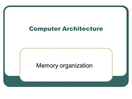 Computer Architecture Memory organization. Types of Memory Cache Memory Serves as a buffer for frequently accessed data Small  High Cost RAM (Main Memory)