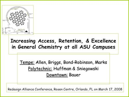 Increasing Access, Retention, & Excellence in General Chemistry at all ASU Campuses Tempe: Allen, Briggs, Bond-Robinson, Marks Polytechnic: Huffman & Sniegowski.