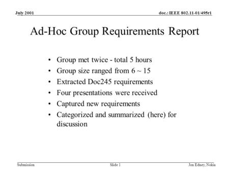 Doc.: IEEE 802.11-01/495r1 Submission July 2001 Jon Edney, NokiaSlide 1 Ad-Hoc Group Requirements Report Group met twice - total 5 hours Group size ranged.