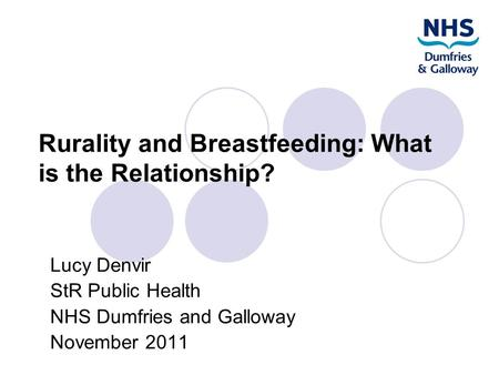 Rurality and Breastfeeding: What is the Relationship? Lucy Denvir StR Public Health NHS Dumfries and Galloway November 2011.