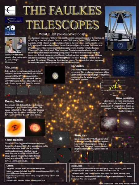 What might you discover today? The Faulkes Telescopes (FT) have been built for school children to discover the excitement of looking at stars and galaxies.