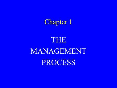 Chapter 1 THE MANAGEMENT PROCESS. THE MANAGEMENT PROCESS WHAT IS MANAGEMENT? WHAT IS A MANAGER? WHY PURSUE A CAREER IN MANAGEMENT? THE IMPORTANCE OF MANAGEMENT.