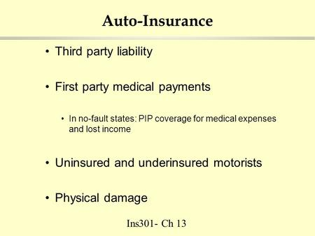 Ins301- Ch 13 Auto-Insurance Third party liability First party medical payments In no-fault states: PIP coverage for medical expenses and lost income Uninsured.