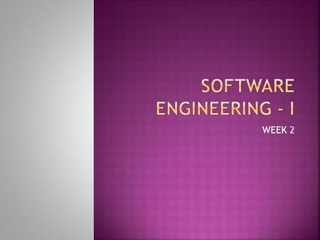 Software Engineering - I