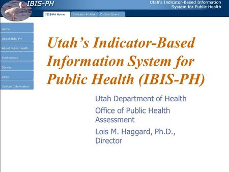 Utah's Indicator-Based Information System for Public Health (IBIS-PH) Utah Department of Health Office of Public Health Assessment Lois M. Haggard, Ph.D.,
