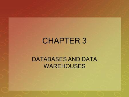 CHAPTER 3 DATABASES AND DATA WAREHOUSES. 2 OPENING CASE STUDY Chrysler Spins a Competitive Advantage with Supply Chain Management Software Chapter 2 –