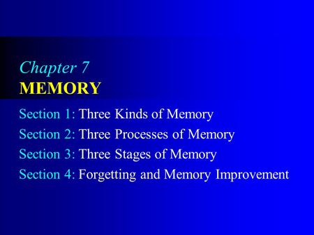 Chapter 7 MEMORY Section 1: Three Kinds of Memory Section 2: Three Processes of Memory Section 3: Three Stages of Memory Section 4: Forgetting and Memory.