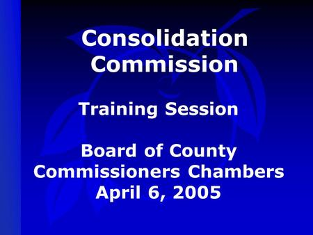 Consolidation Commission Training Session Board of County Commissioners Chambers April 6, 2005.