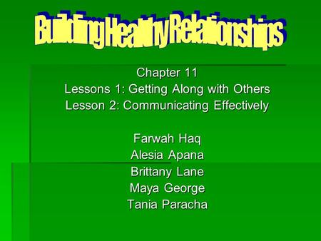Chapter 11 Lessons 1: Getting Along with Others Lesson 2: Communicating Effectively Farwah Haq Alesia Apana Brittany Lane Maya George Tania Paracha.