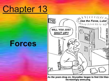 Chapter 13 Forces. What is Force? A push or pull You are exerting a force right now (against the chair, or against the atmosphere) Other objects are also.