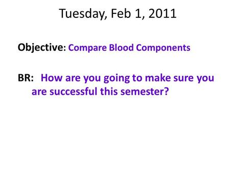 Tuesday, Feb 1, 2011 Objective : Compare Blood Components BR:How are you going to make sure you are successful this semester?