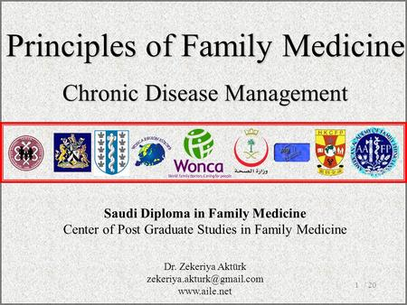 / 201 Saudi Diploma in Family Medicine Center of Post Graduate Studies in Family Medicine Principles of Family Medicine Chronic Disease Management Dr.