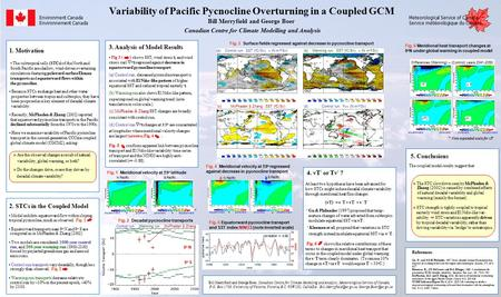Variability of Pacific Pycnocline Overturning in a Coupled GCM Bill Merryfield and George Boer Gu, D. and S.G.H. Philander, 1997: Inter- decadal climate.