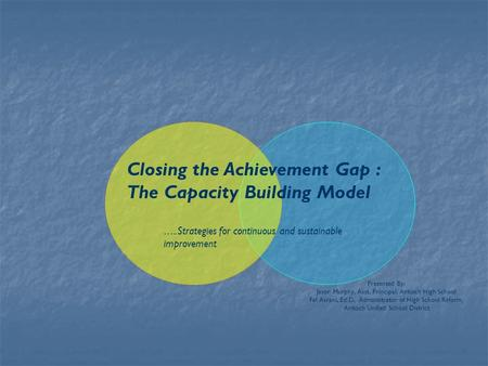 Closing the Achievement Gap : The Capacity Building Model ….. Strategies for continuous and sustainable improvement Presented By: Jason Murphy, Asst. Principal,