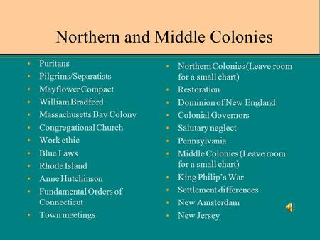 Northern and Middle Colonies
