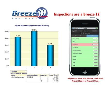Inspections are a Breeze 12 Inspections on an iPad, iPhone, iPod Touch, Android Tablet or Android Phone.