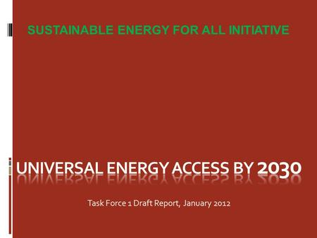 SUSTAINABLE ENERGY FOR ALL INITIATIVE Task Force 1 Draft Report, January 2012.