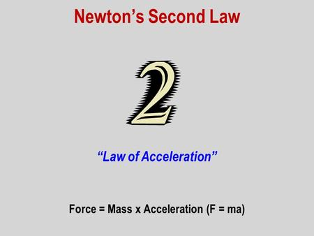 Force = Mass x Acceleration (F = ma)