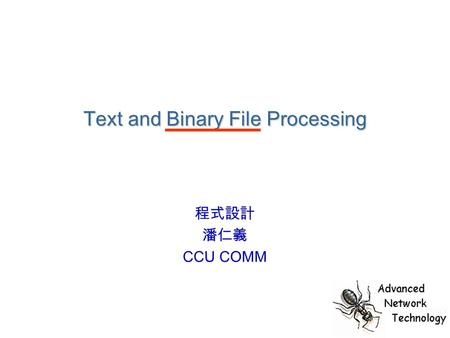 Text and Binary File Processing 程式設計 潘仁義 CCU COMM.