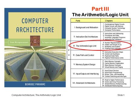 Computer Architecture, The Arithmetic/Logic UnitSlide 1 Part III The Arithmetic/Logic Unit.