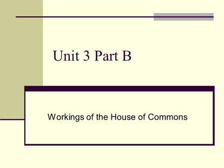 Unit 3 Part B Workings of the House of Commons. The Workings of Parliament House of Commons Representative democracy The members of Parliament (MPs) are.