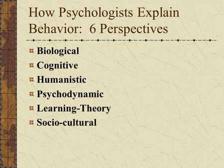 How Psychologists Explain Behavior: 6 Perspectives Biological Cognitive Humanistic Psychodynamic Learning-Theory Socio-cultural.