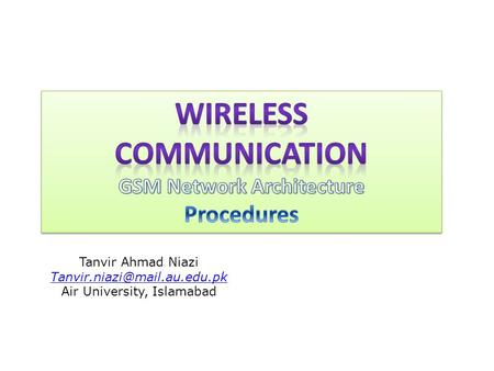 Wireless Communication GSM Network Architecture