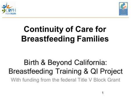 Continuity of Care for Breastfeeding Families Birth & Beyond California: Breastfeeding Training & QI Project With funding from the federal Title V Block.