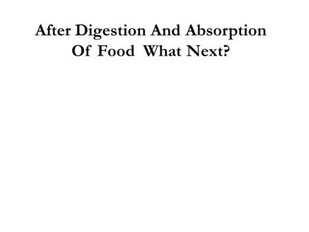 After Digestion And Absorption Of Food What Next?.