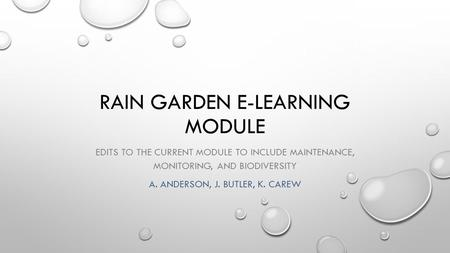 RAIN GARDEN E-LEARNING MODULE EDITS TO THE CURRENT MODULE TO INCLUDE MAINTENANCE, MONITORING, AND BIODIVERSITY A. ANDERSON, J. BUTLER, K. CAREW.
