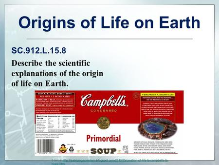 Origins of Life on Earth SC.912.L.15.8 Describe the scientific explanations of the origin of life on Earth. Source: