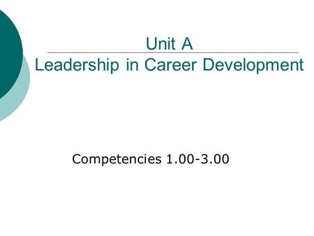 Unit A Leadership in Career Development Competencies 1.00-3.00.