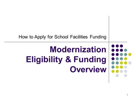 1 How to Apply for School Facilities Funding Modernization Eligibility & Funding Overview.