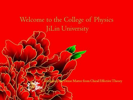 Workshop on Dense Matter from Chiral Effective Theory Welcome to the College of Physics JiLin University.
