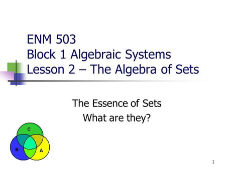 1 ENM 503 Block 1 Algebraic Systems Lesson 2 – The Algebra of Sets The Essence of Sets What are they?