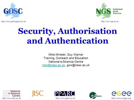 Security, Authorisation and Authentication.